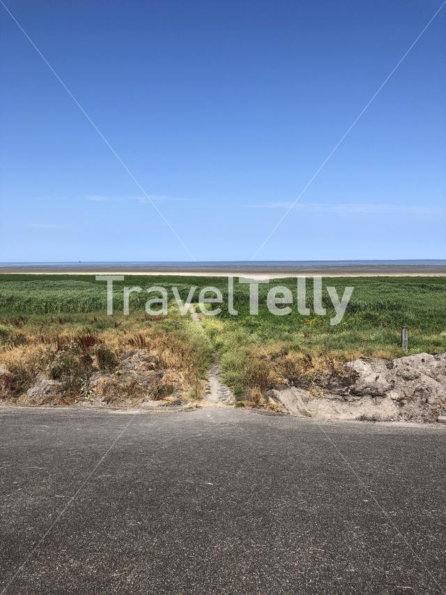 Path from a dike towards the wadden sea in Friesland The Netherlands