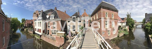 Panorama from a canal in Appingedam The Netherlands