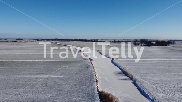 Frozen canal around Sneek in Friesland The Netherlands