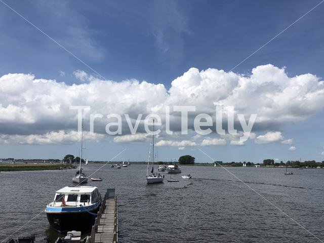 Boats on a lake in Friesland The Netherlands