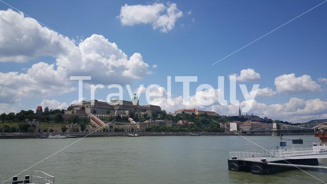 Danube river with the Buda castle in Budapest Hungary