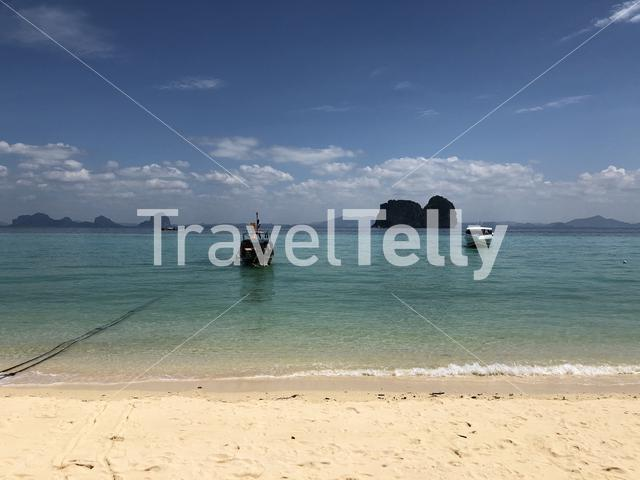 Speedboat arriving at Koh Ngai island in Thailand