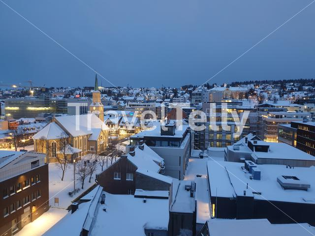 Cityscape of Tromsø on the first hours of the day
