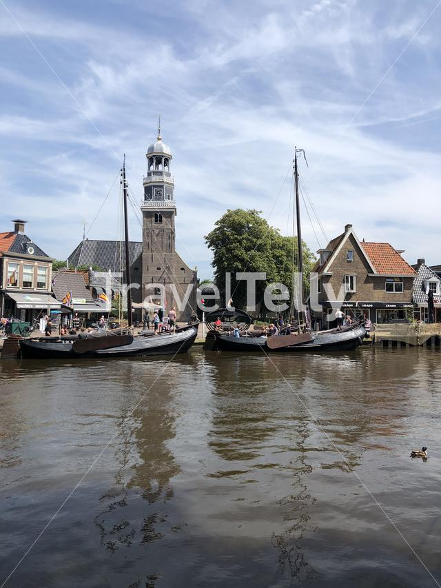 Sailboats in the canal of Lemmer, Friesland The Netherlands