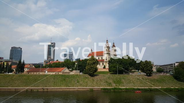 St Raphael The Archangel Church And The Neris River In Vilnius Lithuania
