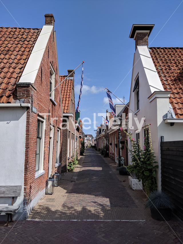 Pittoresk street in Woudsend, Friesland The Netherlands