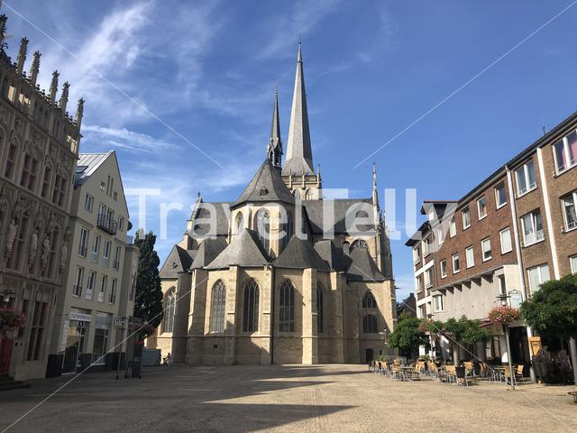 The big market square with the Willibrordi cathedral in Wesel, Germany