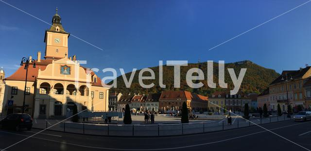 Panorama from council square with the Muzeul Judetean de Istorie and mount tampa in Brasov Romania