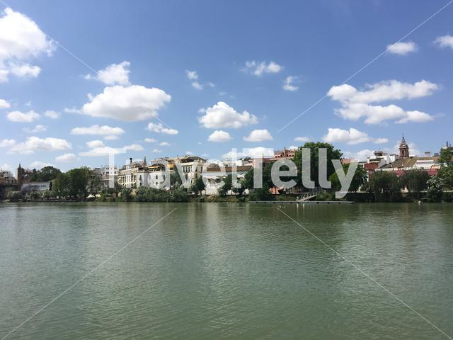 Houses at the Canal de Alfonso XIII in Seville Spain