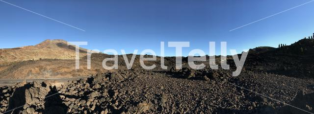 Panorama from a road through Teide National Park in Tenerife the Canary Islands