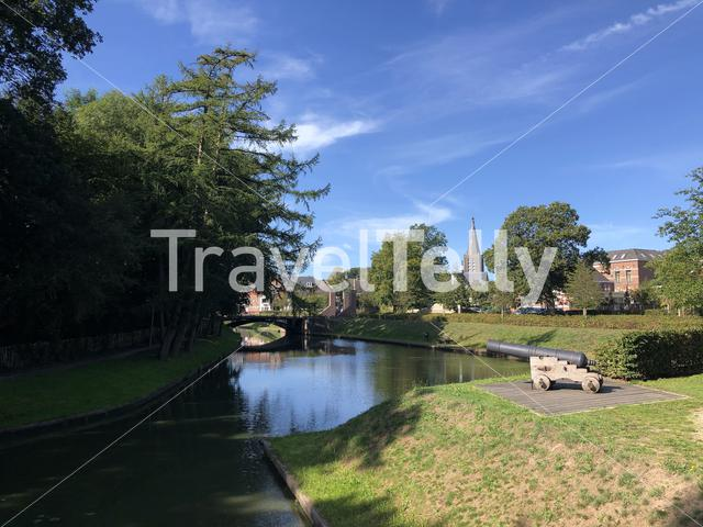 Cannon and canal around Groenlo, The Netherlands