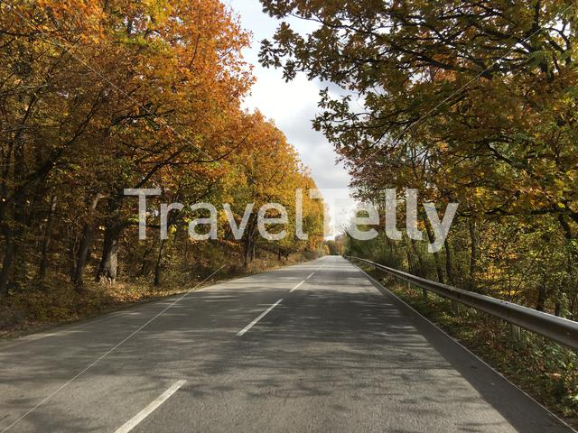 Driving through and autumn landscape in Bulgaria