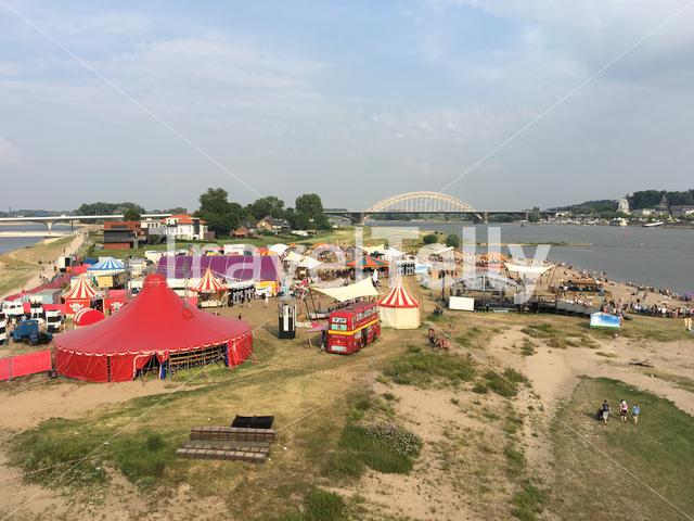 A festival next to the waal in Nijmegen The Netherlands