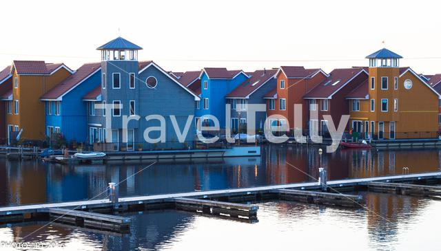 colorful houses in Reitdiephaven in the city of Groningen
