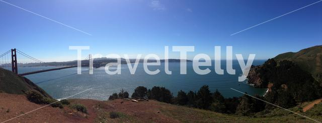 Panorama from the Golden Gate Bridge and Kirby Cove in San Francisco