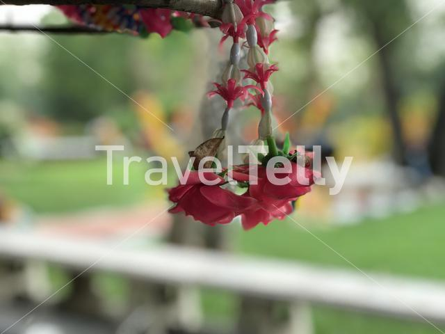 Flower offer at Wat Yai Chai Mongkhon a Buddhist temple in Ayutthaya, Thailand