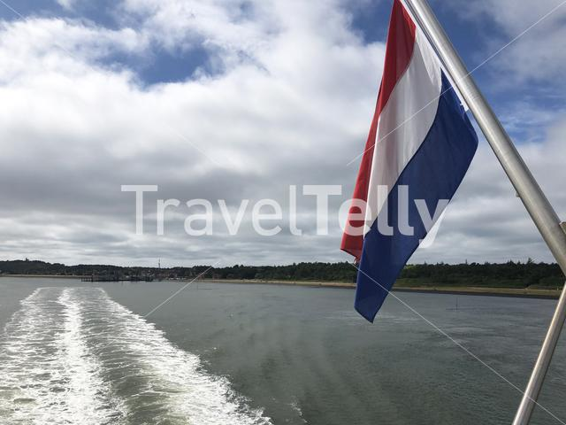 Ferry leaving Vlieland in The Netherlands