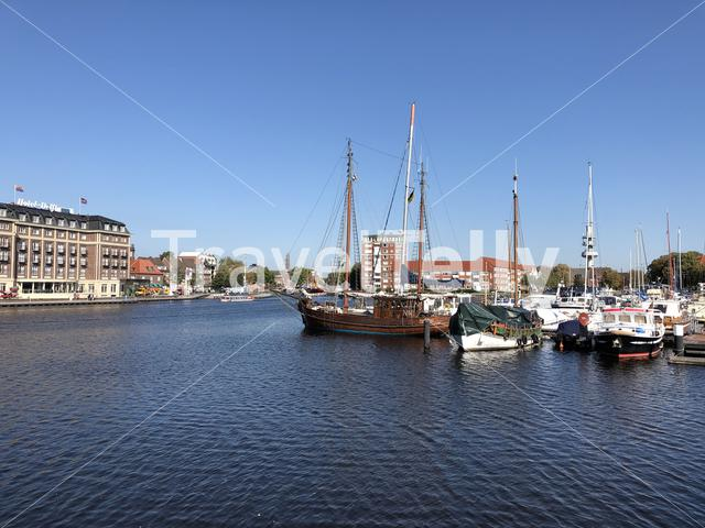 The old inland port in Emden, Germany