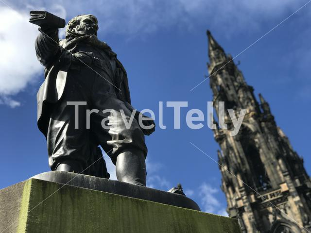 Statue in front of the Scott Monument in Edinburgh Scotland