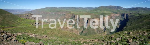 Panoramic scenery from around the Maletsunyane Falls in  Lesotho