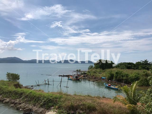 Fishing boats next to Thammachart Pier in Trat Thailand