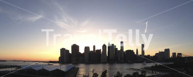 Panorama from the Manhattan skyline during sunset in New York City USA