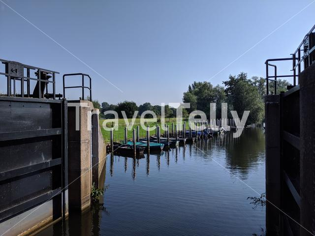 River lock at the Vechte in Overijssel, The Netherlands