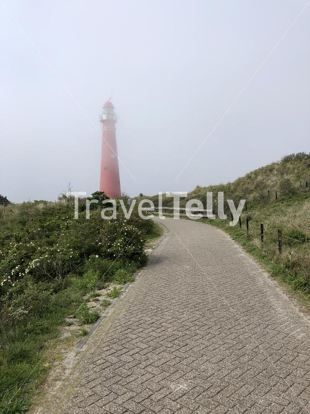 Lighthouse in the mist on Schiermonnikoog in The Netherlands