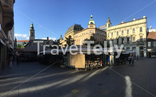 Panorama from a square downtown Zagreb Croatia