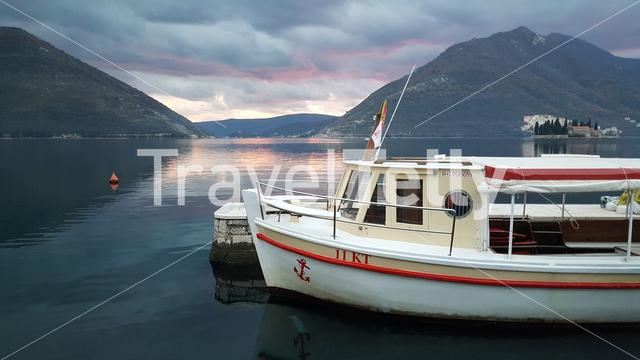 Small ferry for transport from Perast to the islands with Sveti Dordje and R.K.C. Gospa od Å krpjela in Montenegro