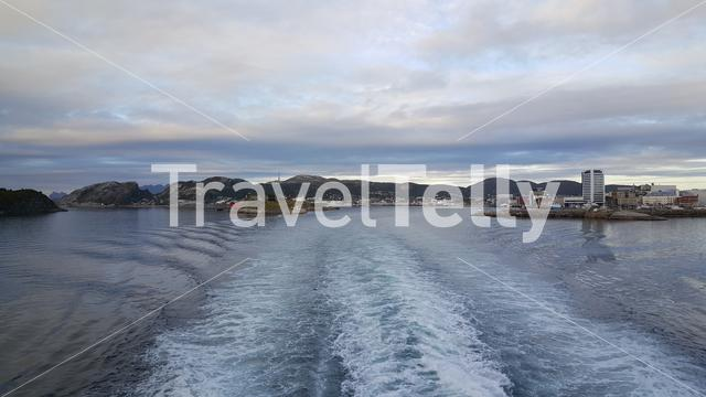 Ferry leaving the harbour of Bodo Norway