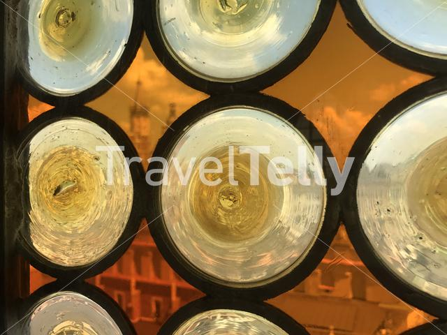 The St. Mary's Basilica seen through the glass from the Town Hall Tower in Poland