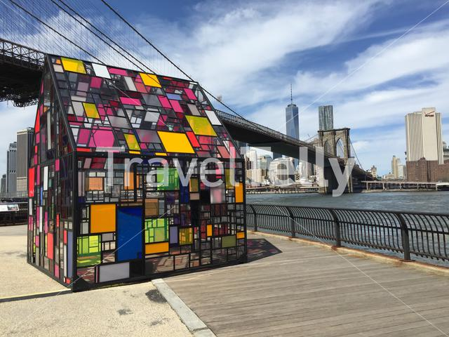 Art house next to the Brooklyn bridge in New York City United States