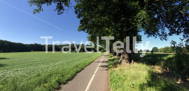 Panorama from bicycle path around the village Beerze in Overijssel The Netherlands