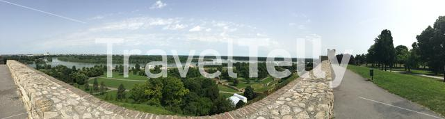 Panorama view from the Belgrade Fortress in Belgrade Serbia