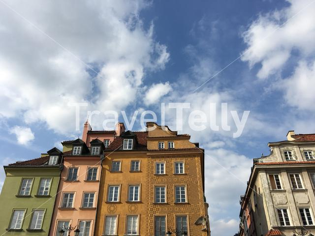 Colorful houses in the old town Warsaw Poland