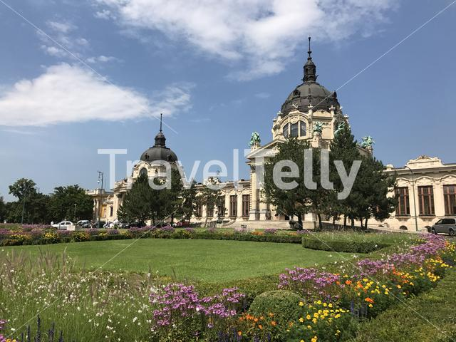 Flowers in front of the Szechenyi Thermal Bath in Budapest Hungary