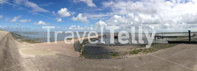 Panorama from a dike and the coast in Texel The Netherlands