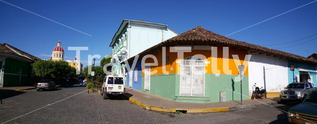 Panorama from colourful houses and La Catédral de Granada in Nicaragua