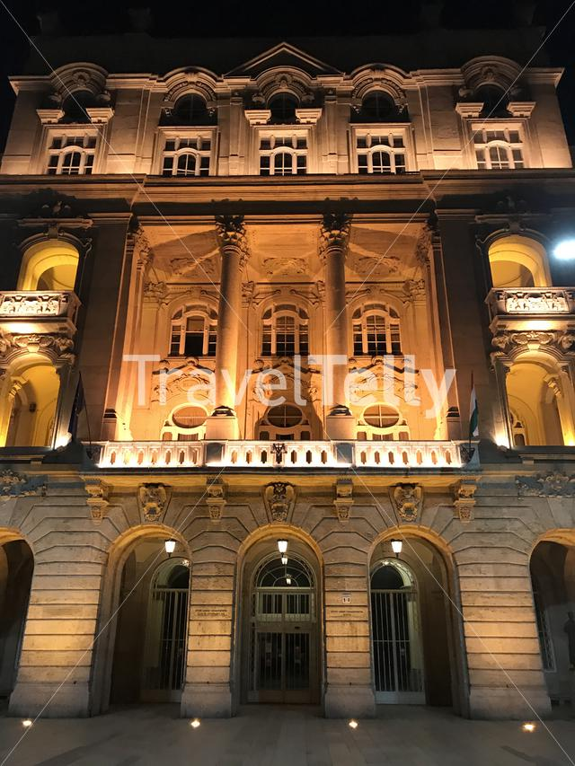 Eotvos Lorand University at night in Budapest Hungary