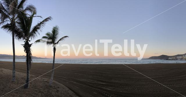 Panorama from the sunrise at Las Canteras beach in Las Palmas, Gran Canaria