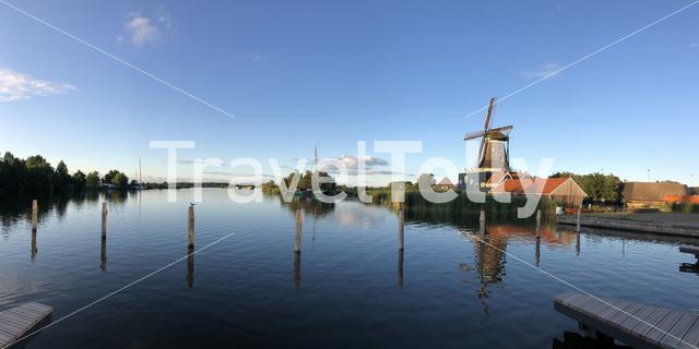 Panorama from Windmill De Rat in IJlst on a summer evening in Friesland, The Netherlands