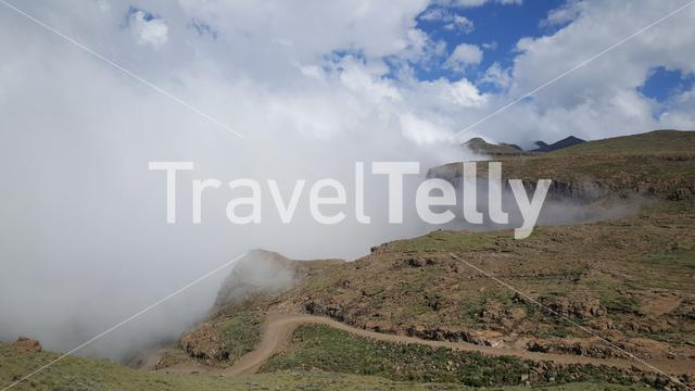 Clouds around the mountains at Drakensberg in Lesotho