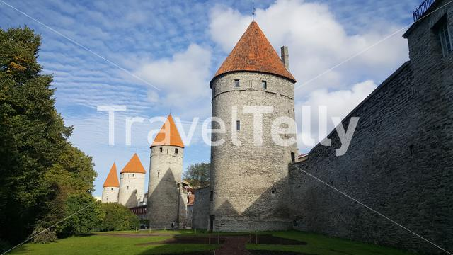 Old town city wall with the Koismae Tower and Eppingi Tower in Tallinn, Estonia