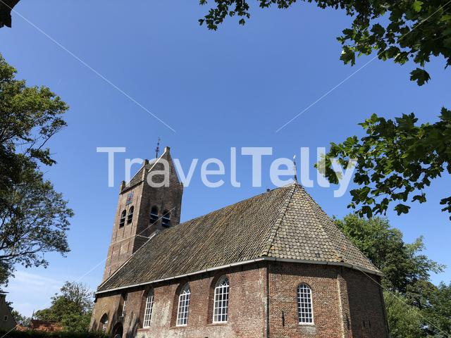 The big church in Allingawier a terp village in Friesland, The Netherlands
