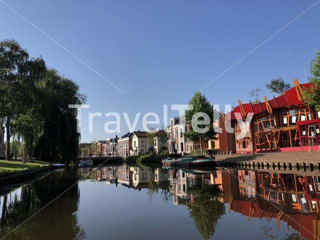 Canal around the old town of Sneek in Friesland The Netherlands