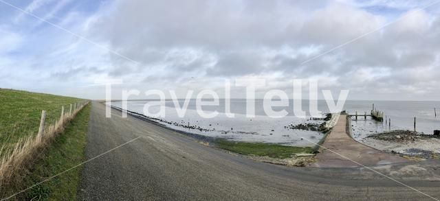 Panorama from a dike around Texel island in The Netherlands