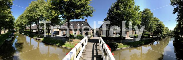 Panorama from the achlumer canal in Achlum, Friesland The Netherlands