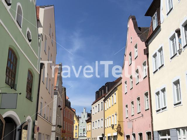 Colorful houses inthe old town of Landshut Germany