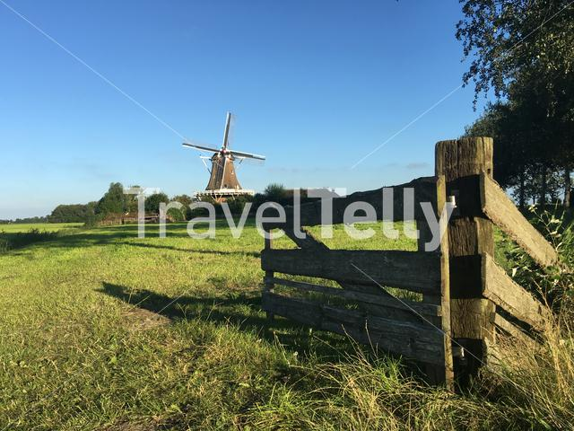 Windmill De Hond (the dog) in Friesland The Netherlands